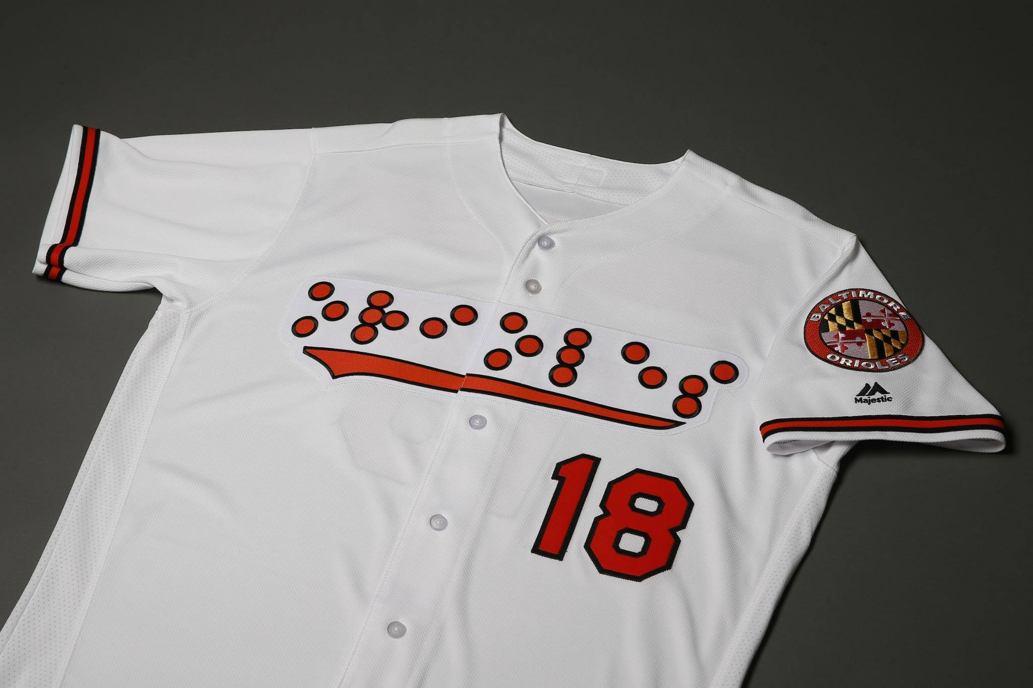 new concept b572f 7b0c8 Orioles are the first major league team to wear braille ...