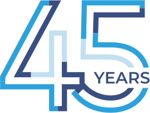 Low Vision Specialists of MD & VA 45th Anniversary Logo comprised of multiple shades of blue.